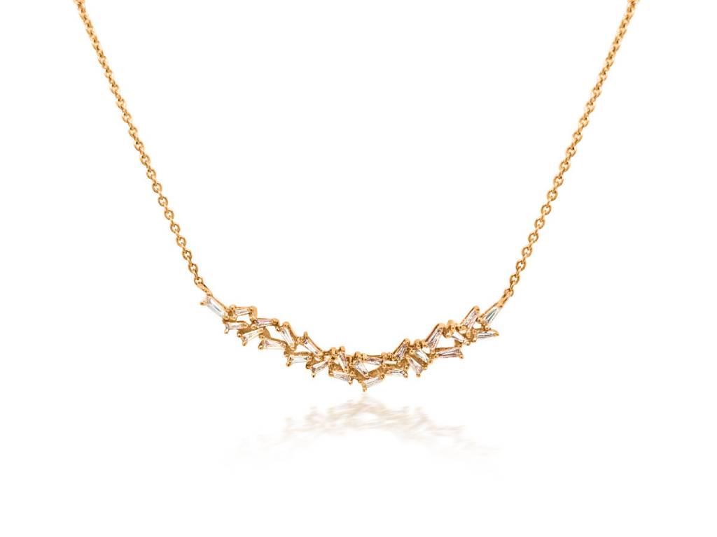 Trabert Goldsmiths 0.42ct Baguette Diamond Bib Necklace