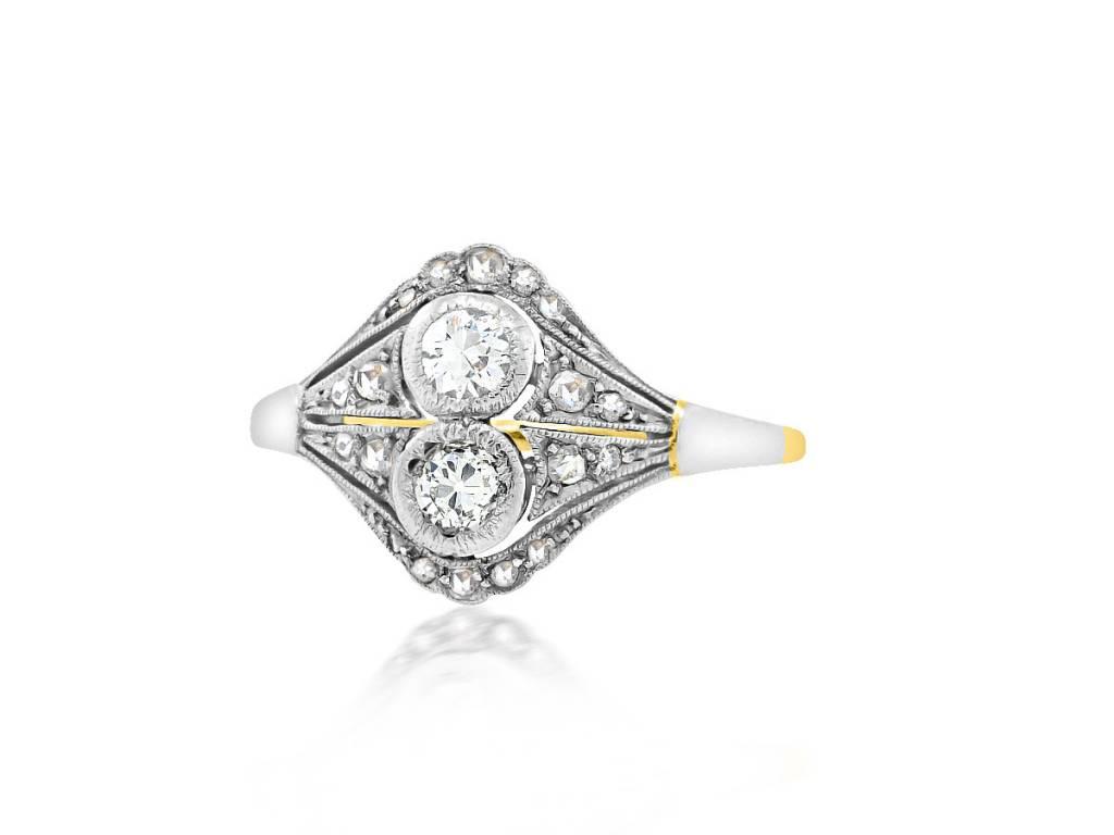 Trabert Goldsmiths Petite Deco Twin Diamond Ring