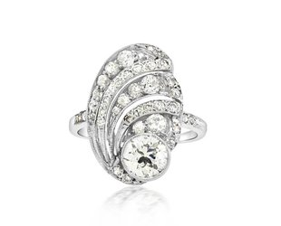 Trabert Goldsmiths Antique Deco Diamond Swirl Ring E1681