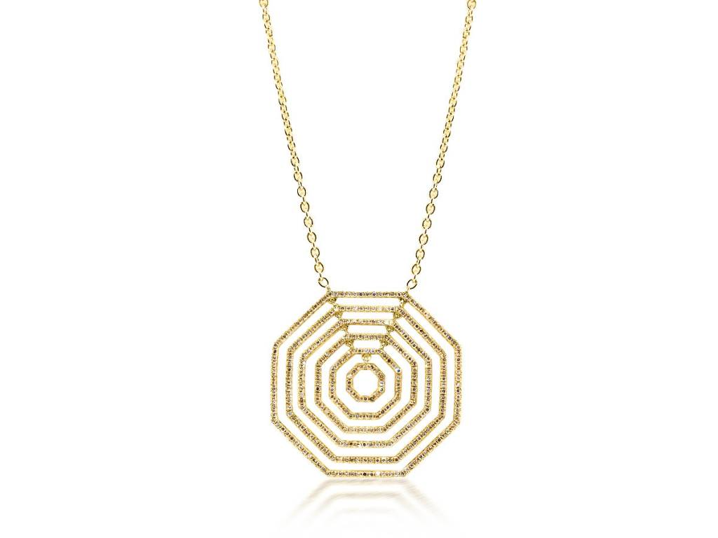 Trabert Goldsmiths Concentric Octagonal Diamond Necklace