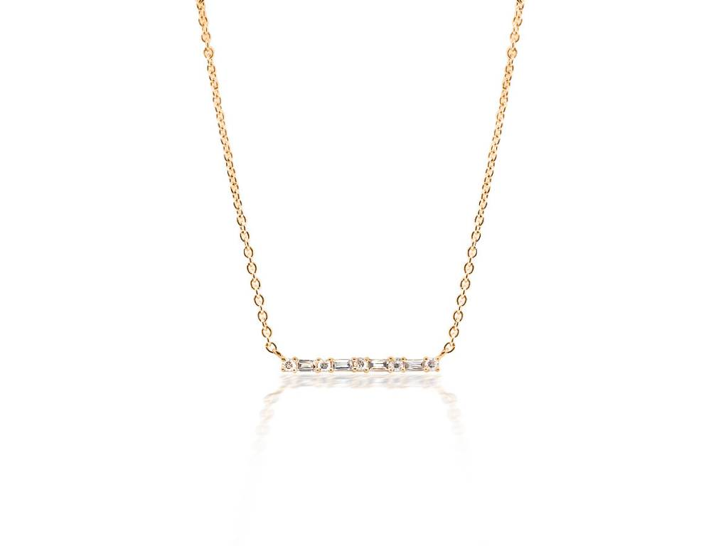 Trabert Goldsmiths Baguette Diamond Bar Necklace