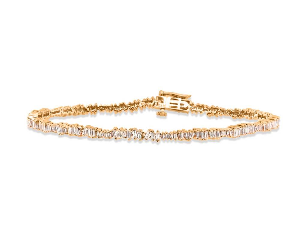 Trabert Goldsmiths Freeform Baguette Diamond Bracelet