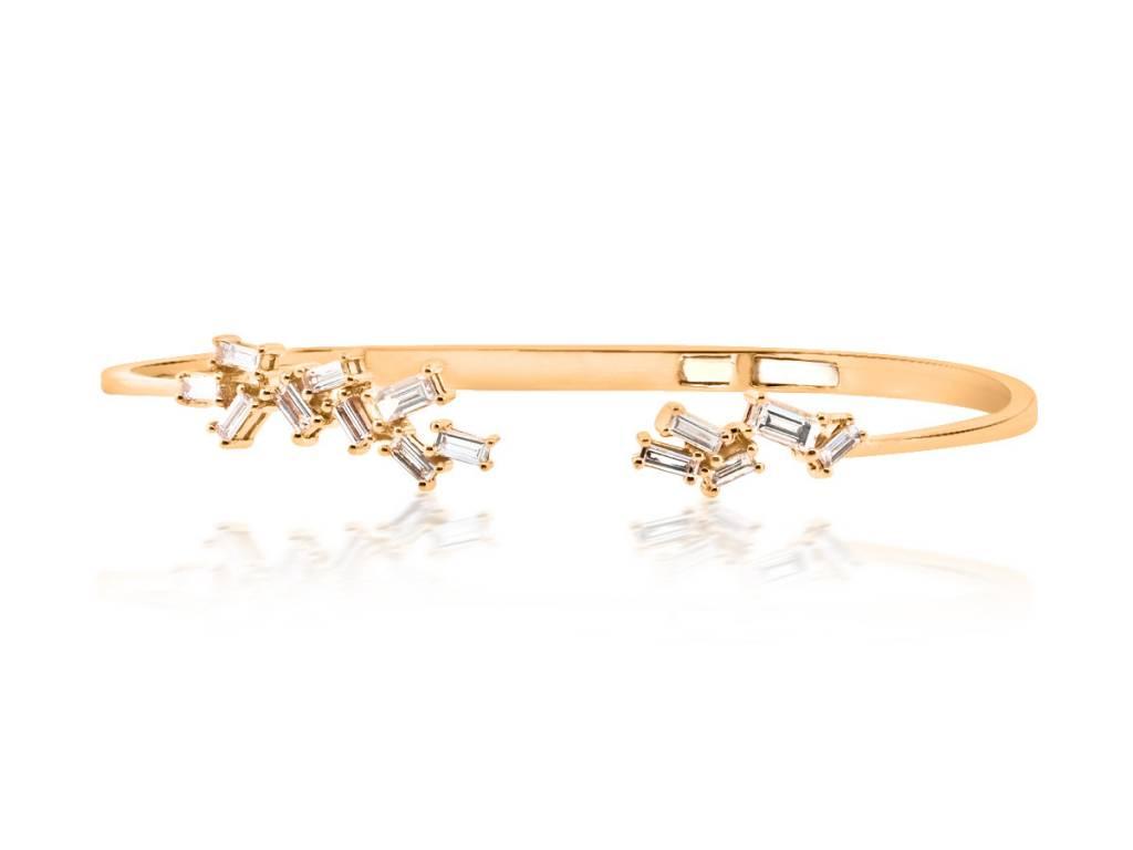 Trabert Goldsmiths Organic Baguette Diamond Cuff Bracelet