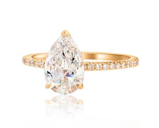 Trabert Goldsmiths 1.50ct GSI1 Pear Cut Diamond Aura Ring E1705