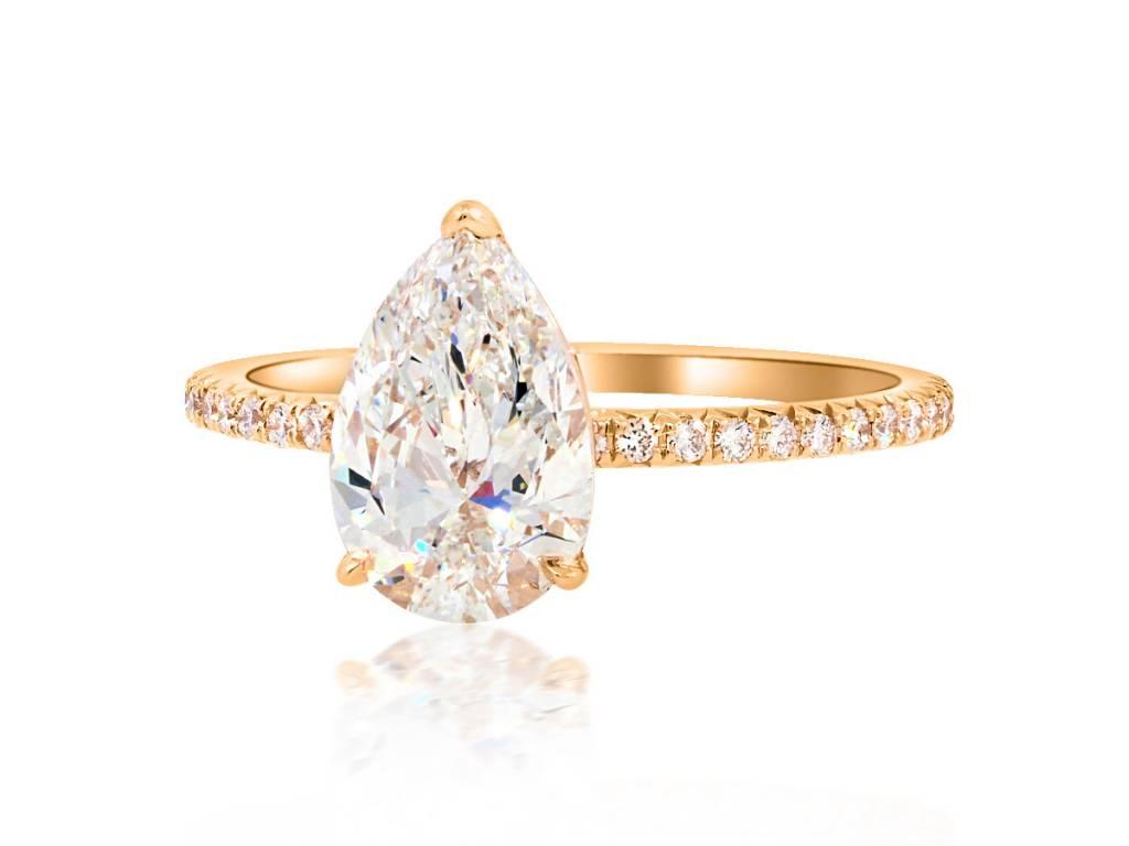 Trabert Goldsmiths 1.50ct GSI1 Pear Cut Diamond Aura Ring