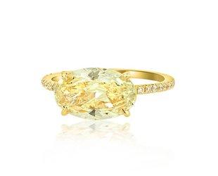 Trabert Goldsmiths 2.24ct VSI2 Oval Yellow Diamond Aura Ring E1706