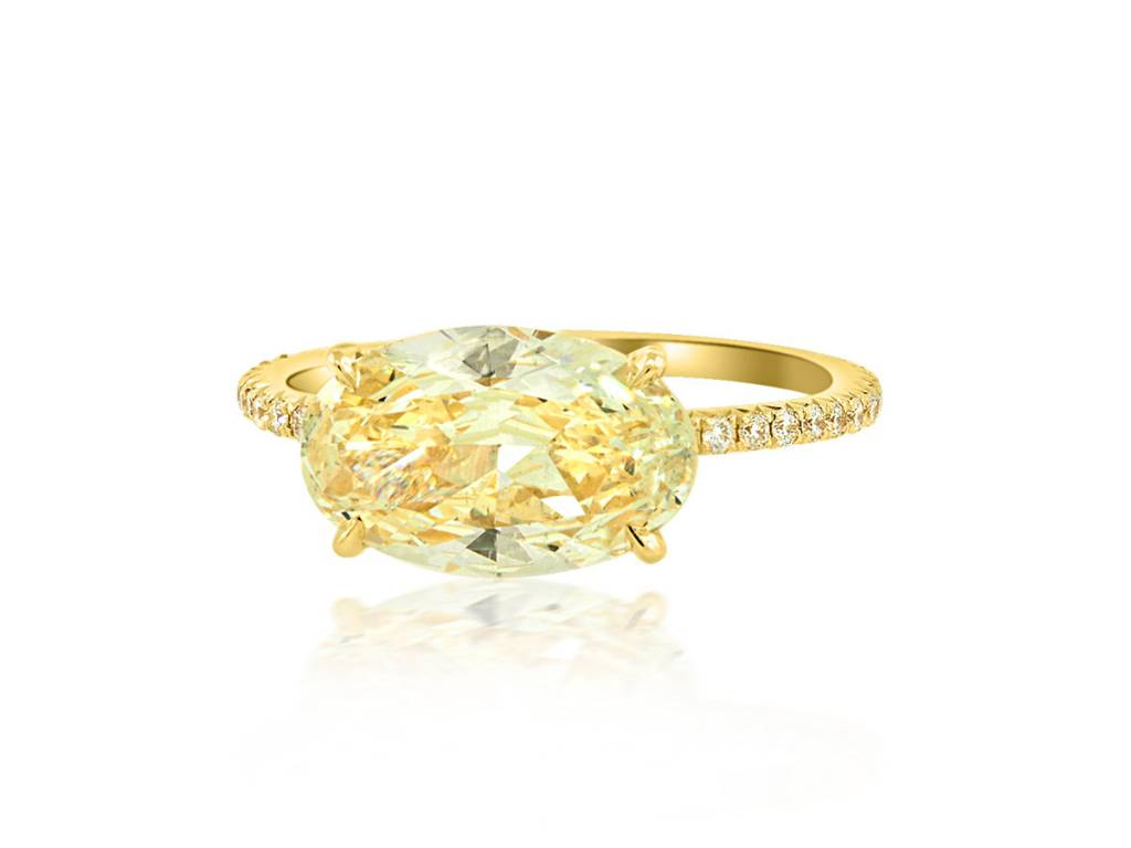 Trabert Goldsmiths 2.24ct VSI2 Oval Yellow Diamond Aura Ring