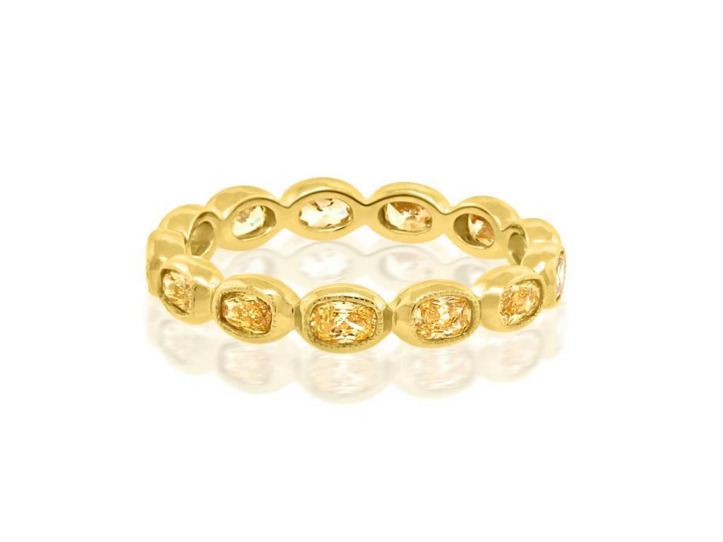 Trabert Goldsmiths 1.26ct Yellow Oval Diamond Eternity Band