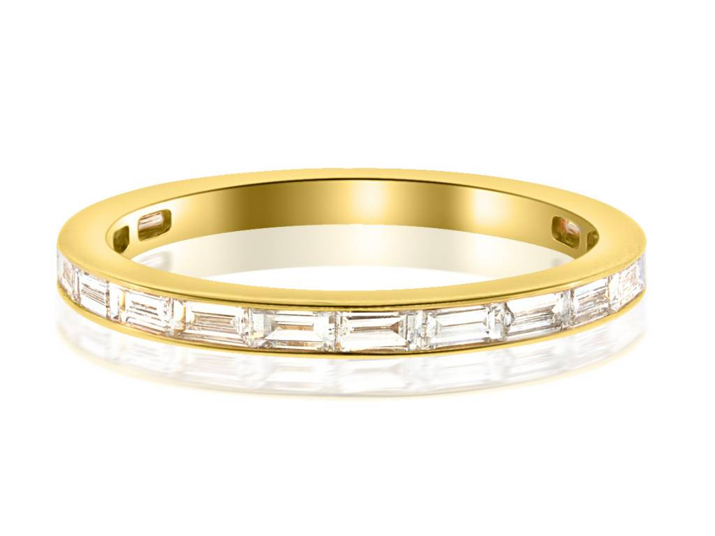 Trabert Goldsmiths Baguette Diamond Half Eternity Gold Band