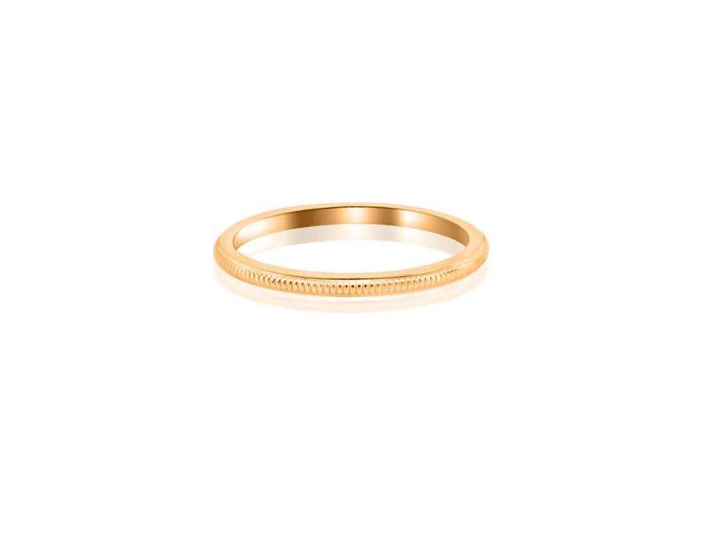 Trabert Goldsmiths Thin Milgrain Rose Gold Band