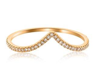 Liven V Shaped Pave Diamond Rose Gold Ring LN33