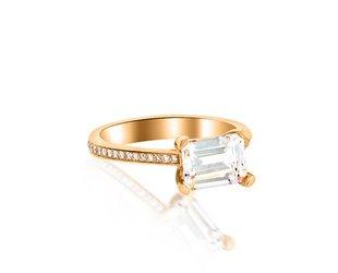 Trabert Goldsmiths 1.70ct Emerald Cut Moissanite Ring GAM1