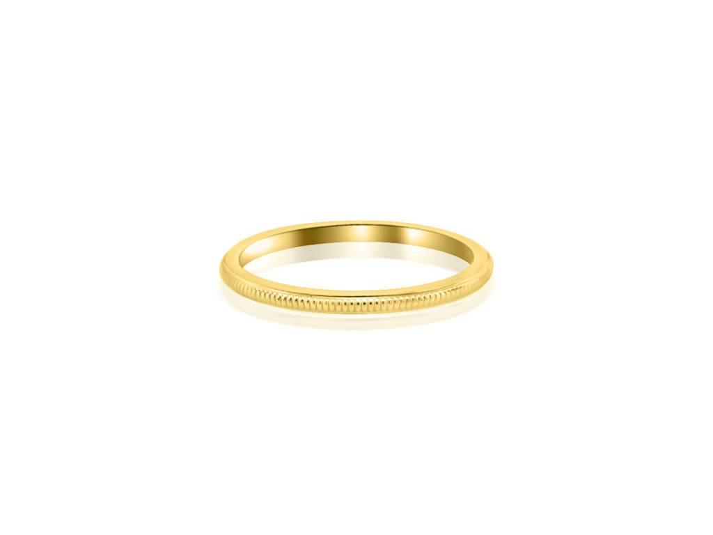 Trabert Goldsmiths Thin Milgrain Yellow Gold Band