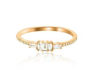 Luvente Baguette Diamond Rose Gold Ring LV71