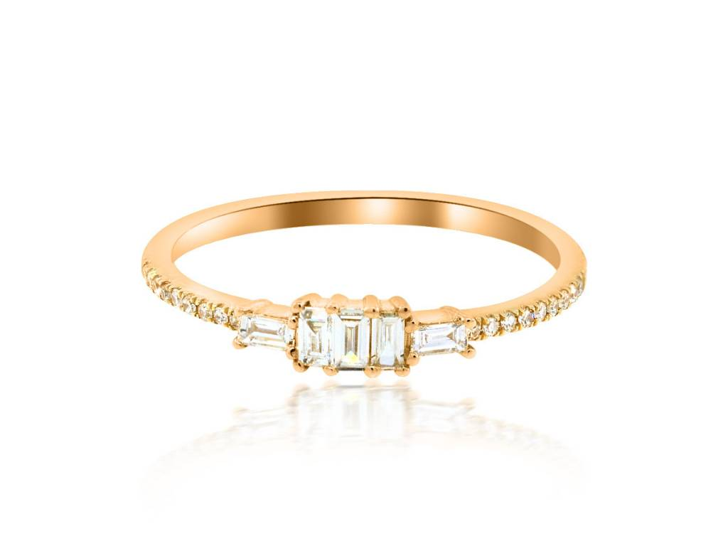 Luvente Baguette Diamond Rose Gold Ring