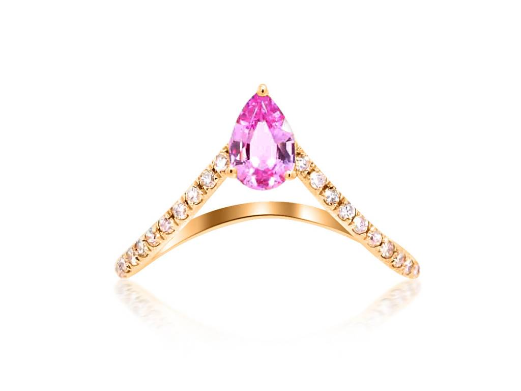 Trabert Goldsmiths Diamond V Shaped Pink Sapphire Ring