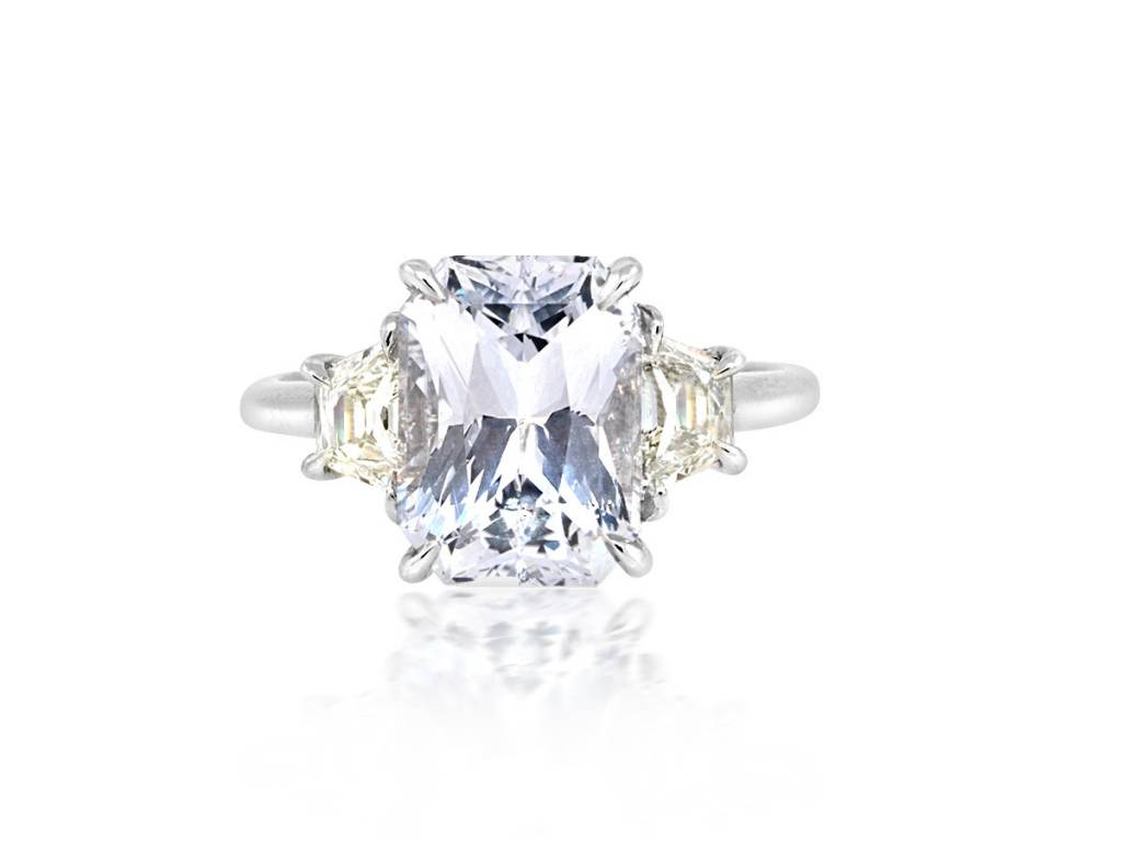 Trabert Goldsmiths 4.36ct Radiant Cut Pale Blue Sapphire Ring