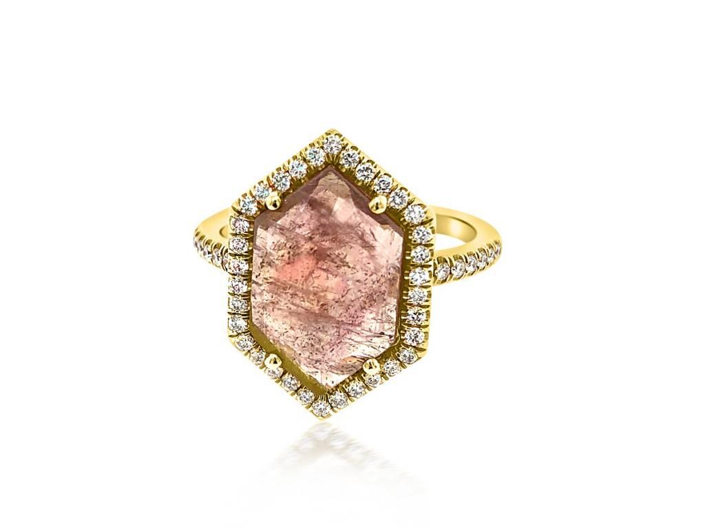 Lauren K Hexagonal Pink Sapphire and Diamond Ring