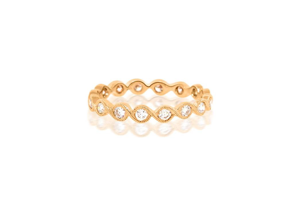 Beverley K Collection Rose Gold Diamond Twist Band