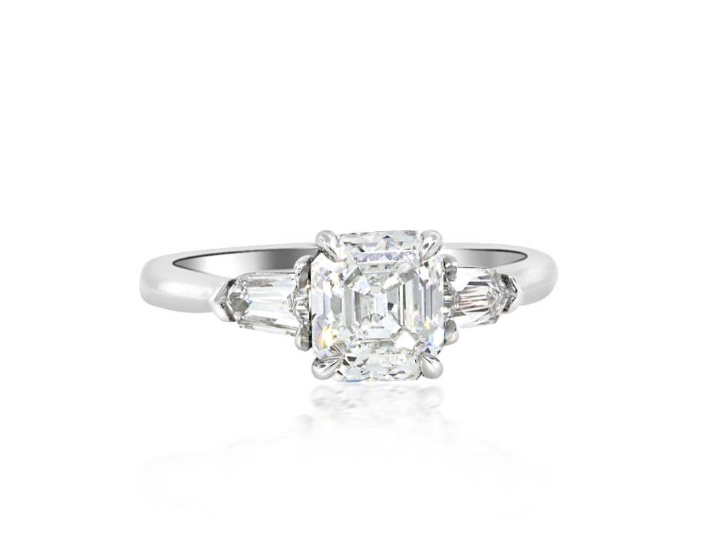Trabert Goldsmiths 1.32ct Asscher Cut Diamond 3 Stone Ring