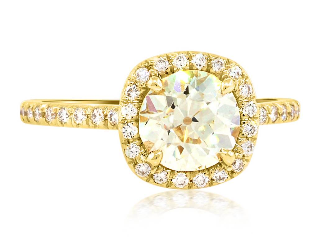 Trabert Goldsmiths 1.26ct NVS1 Old European Diamond Golden Goddess Ring