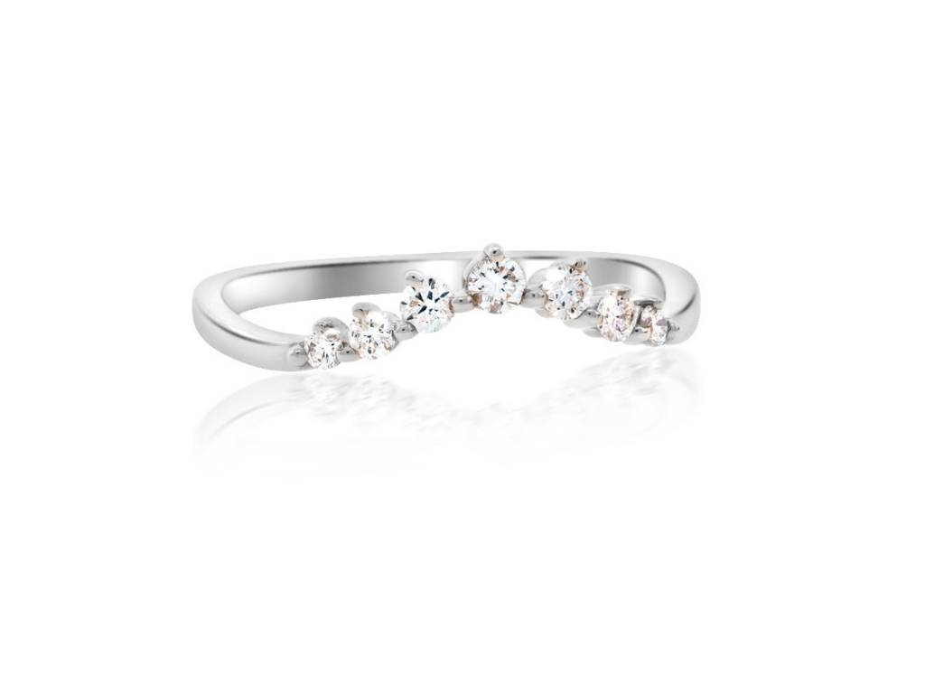 Liven Chevron Diamond Curved White Gold Ring