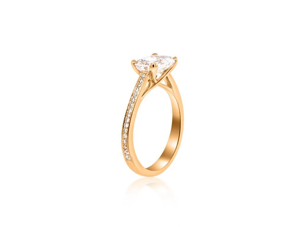 Trabert Goldsmiths 1.70ct Emerald Cut Moissanite Ring