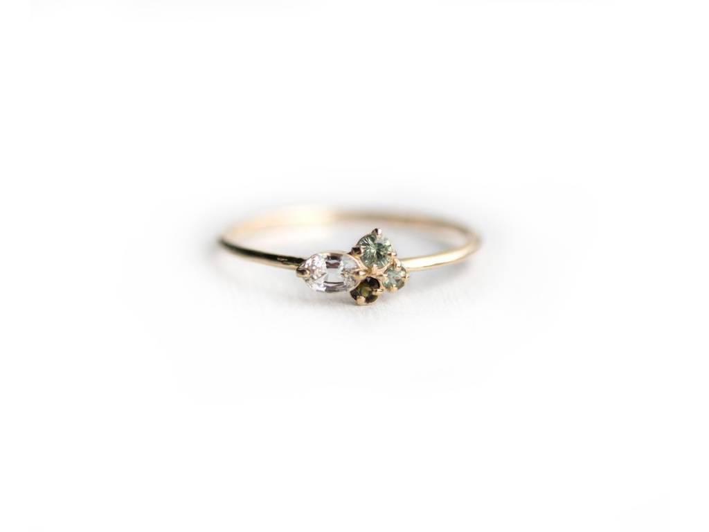 Melanie Casey Bells of Ireland Green Cluster Ring