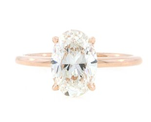 Trabert Goldsmiths 2.02ct GSI1 Oval Diamond Aura Ring E1742