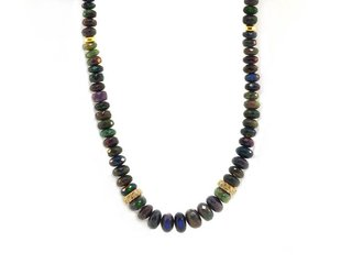 Trabert Goldsmiths Black Ethiopian Opal Rondel Necklace E1747
