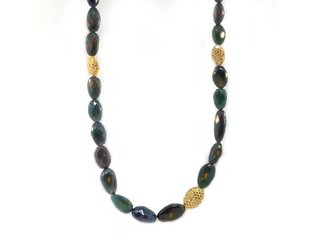 Trabert Goldsmiths Black Ethiopian Opal Oval Beaded Necklace E1746