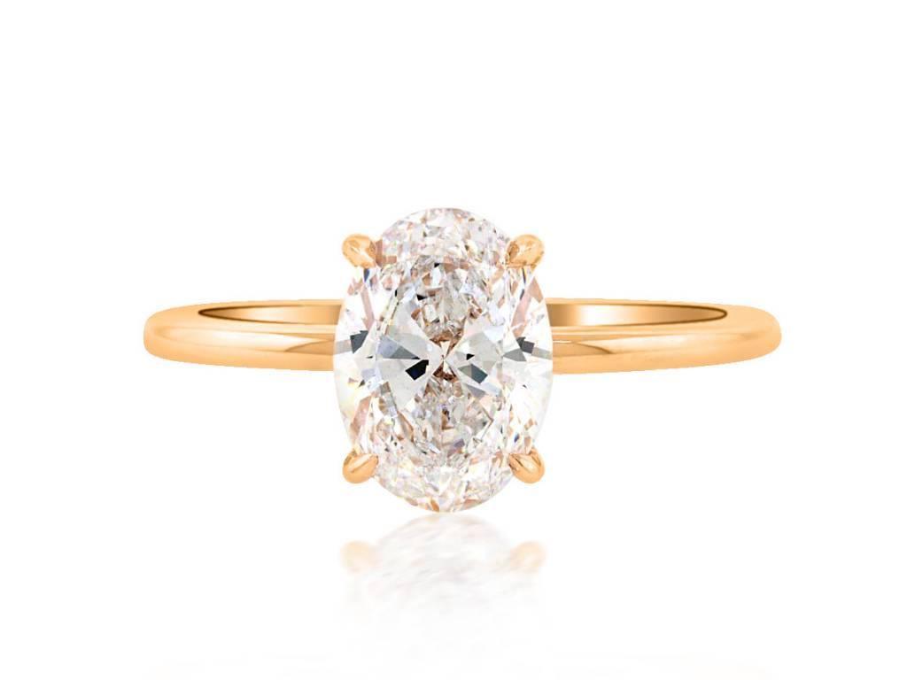 Trabert Goldsmiths 1.61ct DSI1 Oval Diamond Aura Ring