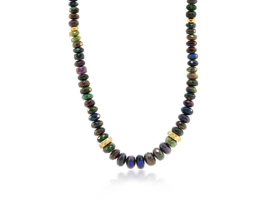 Trabert Goldsmiths Black Ethiopian Opal Rondel Necklace