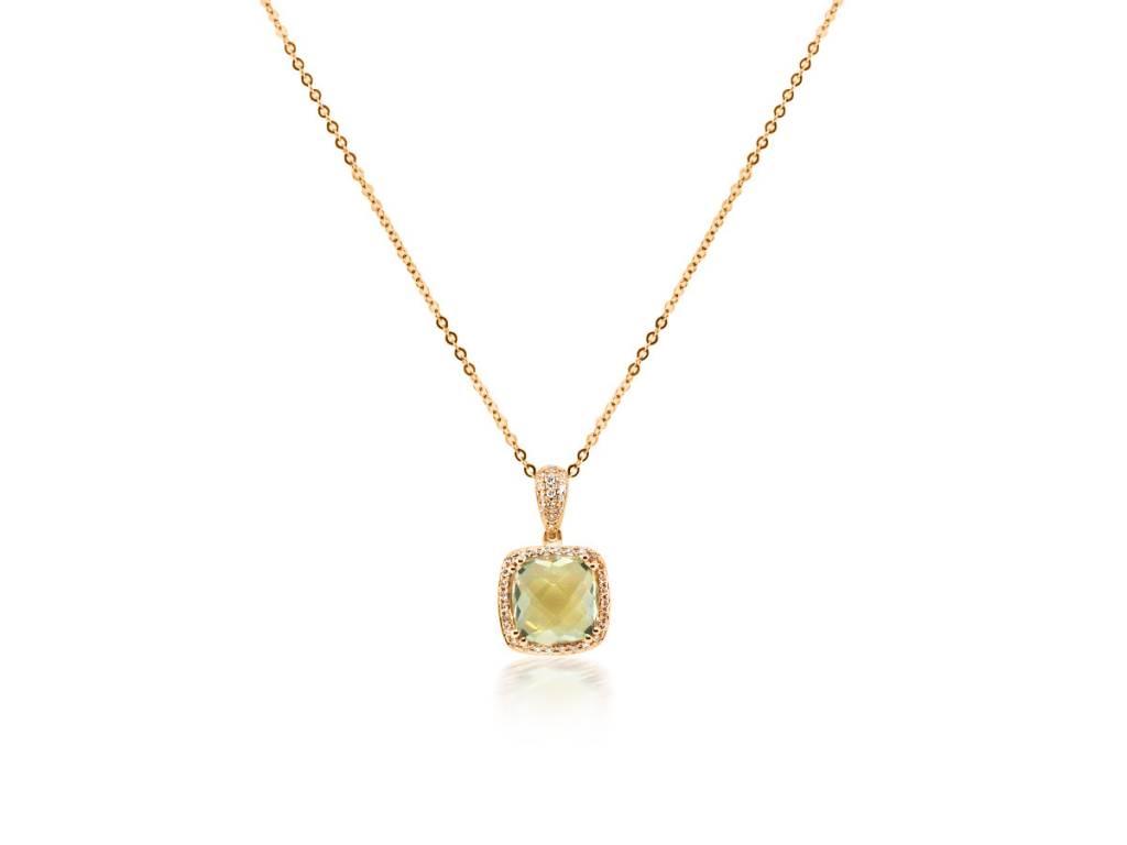 Luvente Green Amethyst Diamond Halo Pendant