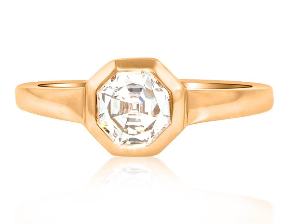 Trabert Goldsmiths 0.90ct Octagonal Asscher Cut Diamond Ring