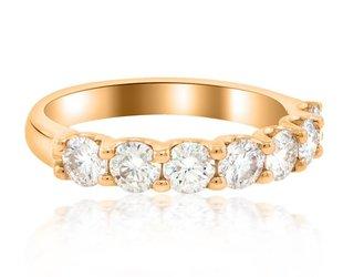 Trabert Goldsmiths 7 Stone Moissanite Rose Gold Ring E1452