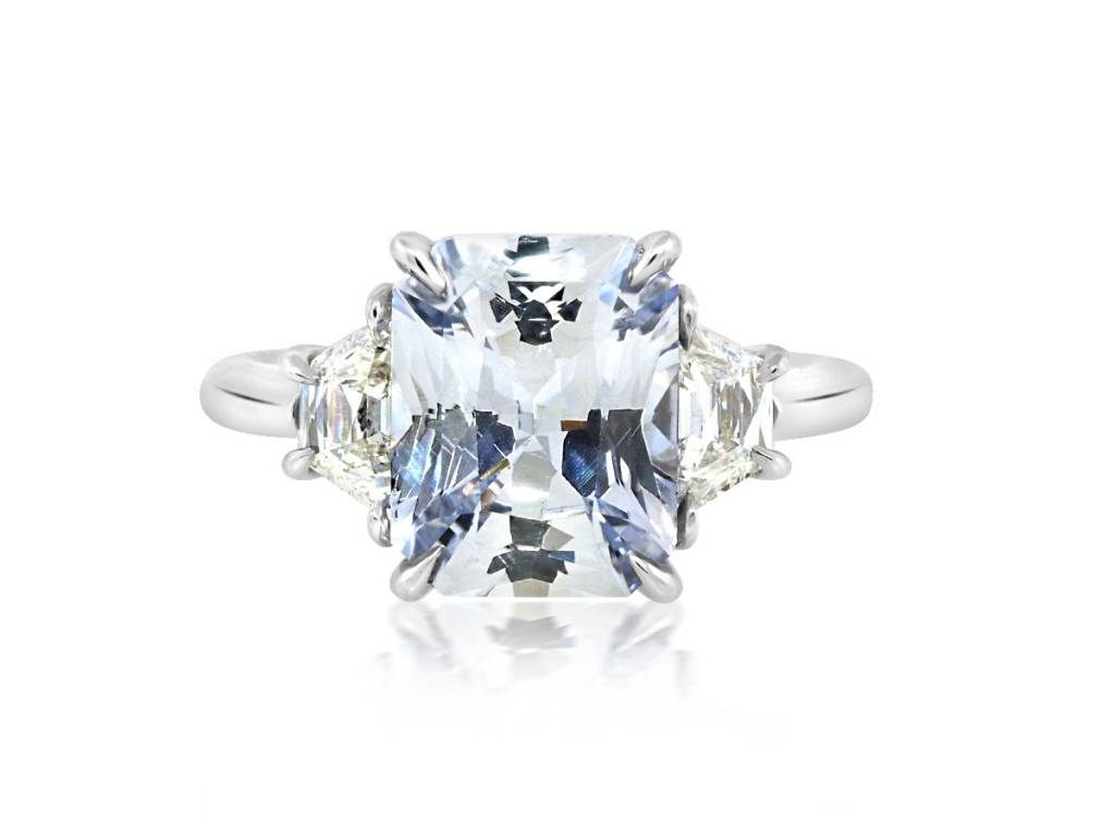 Trabert Goldsmiths 3.26ct Radiant Cut Pale Blue Sapphire Ring