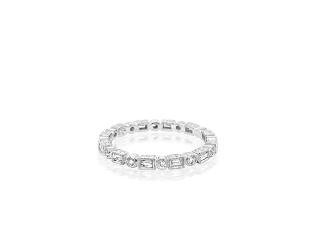 Beverley K Collection Round and Baguette Diamond Eternity Band