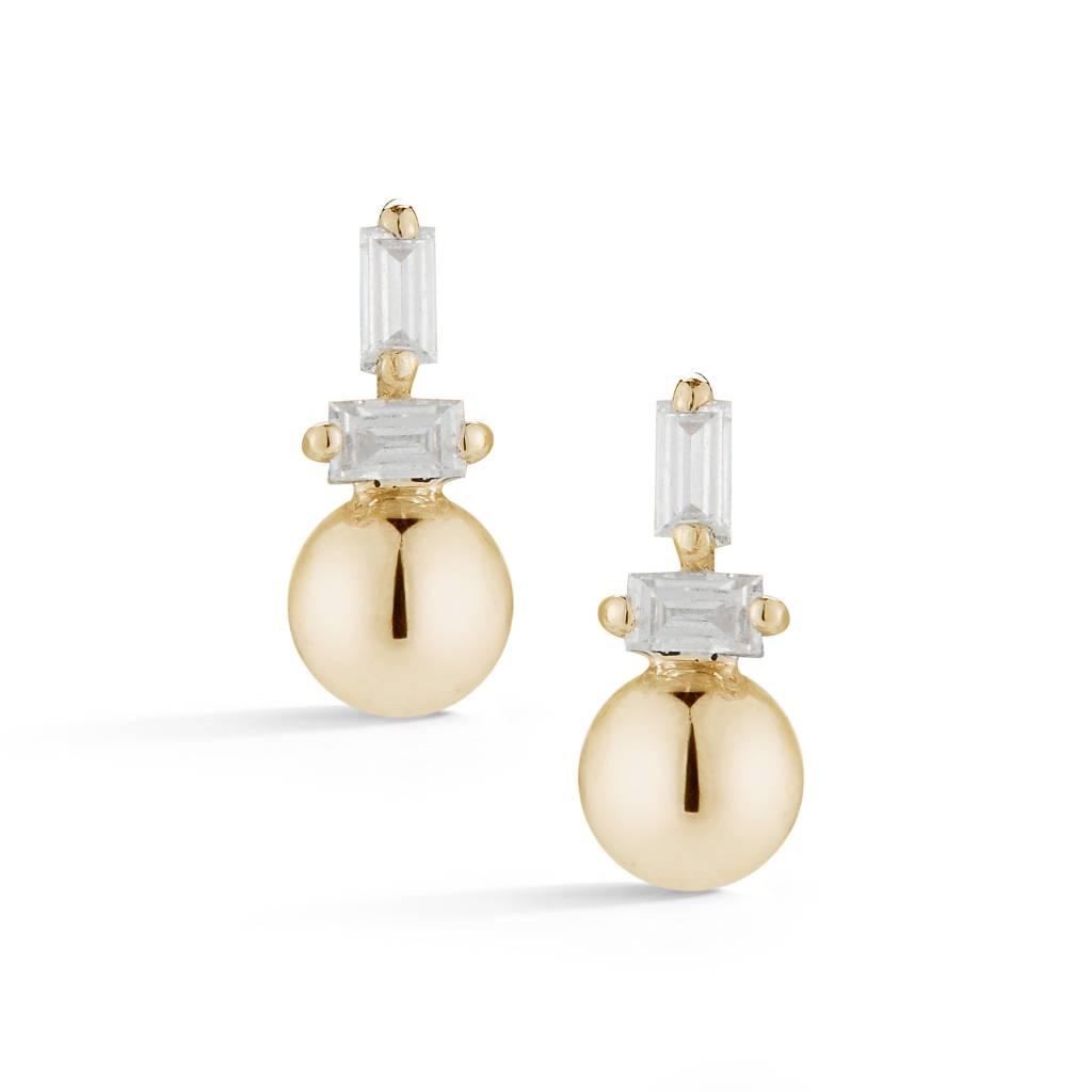 Dana Rebecca Poppy Rae Tiny Gold and Diamond Studs