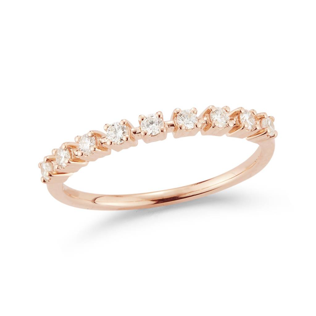 Dana Rebecca Delicate Half Diamond Rose Gold Band