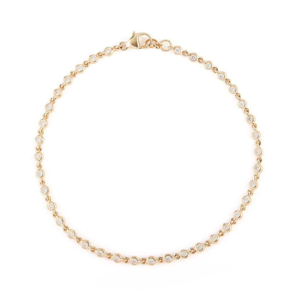 Dana Rebecca Delicate Bezel Diamond Gold Link Bracelet
