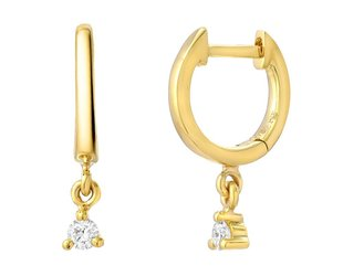 Liven Mini Diamond Dangling Gold Hoop Earrings LN41