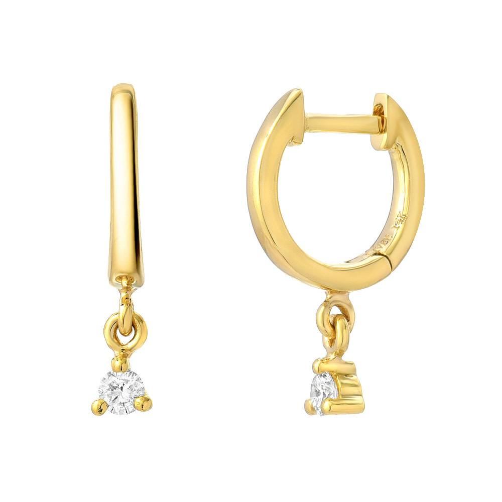 Liven Mini Diamond Dangling Gold Hoop Earrings