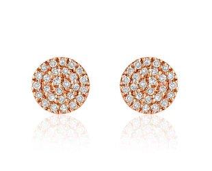 Liven Mini Pave Diamond Disc Rose Gold Earrings LN48