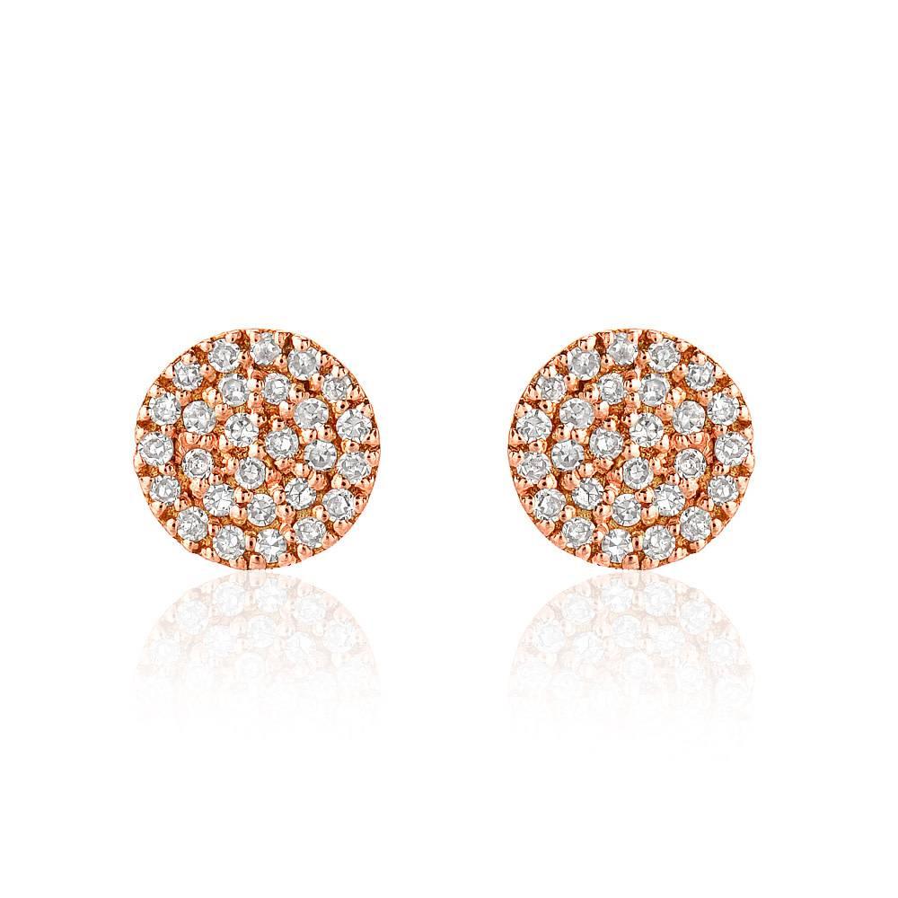 Liven Mini Pave Diamond Disc Rose Gold Earrings