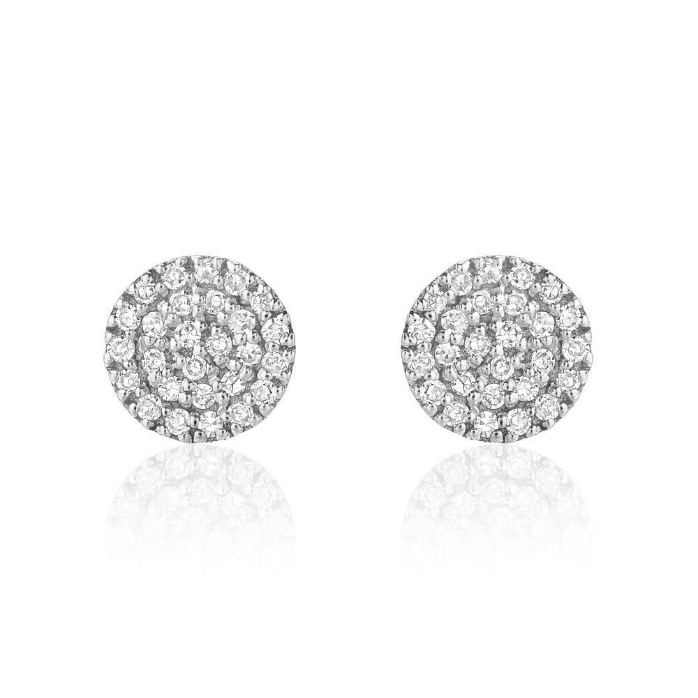 Liven Mini Pave Diamond Disc White Gold Earrings