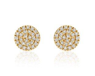 Liven Mini Pave Diamond Disc Gold Stud Earrings LN50
