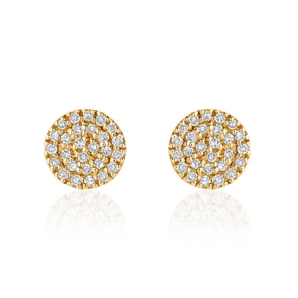 Liven Mini Pave Diamond Disc Gold Stud Earrings
