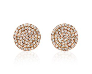 Liven Pave Diamond Disc Rose Gold Earrings LN51