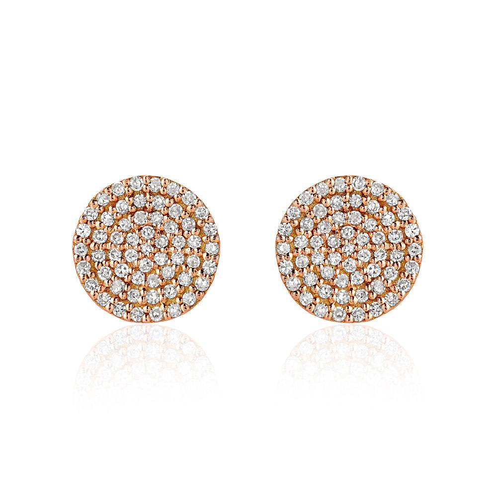 Liven Pave Diamond Disc Rose Gold Earrings